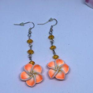 Jewelry - ORANGE FLOWER DANGLE EARRINGS ( HANDMADE)