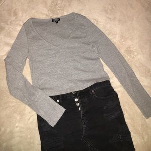 Gray Topshop long sleeve crop