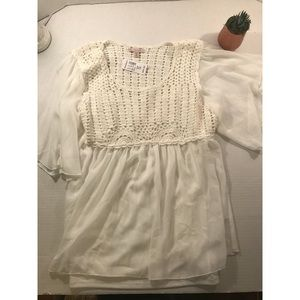 NWT Dressbarn White Peasant Blouse Plus Size 1x