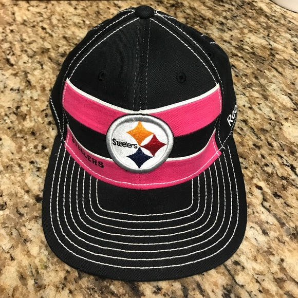 NFL Onfield Steelers Hat - Breast Cancer Awareness.  M 59c06dc6f739bc5cf001f5ae 9cf0a988e