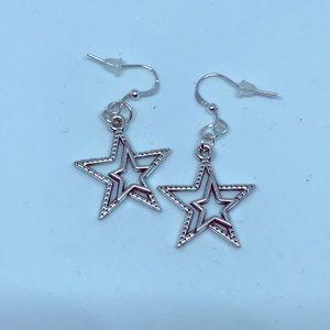 Jewelry - TIBETAN SILVER STAR EARRINGS ( HANDMADE )