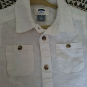 Other - Toddler Boy White Linen Short Sleeve Button Up