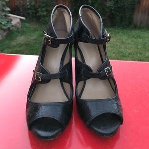 Ann Tayloe peeped toe pumps
