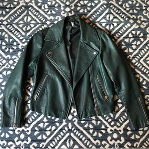 Topshop Forest Green Leather Jacket