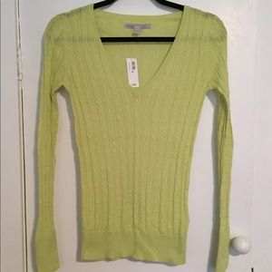 Old Navy lime green long sleeve cable sweater