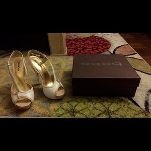 Bebe white and beige shoes...