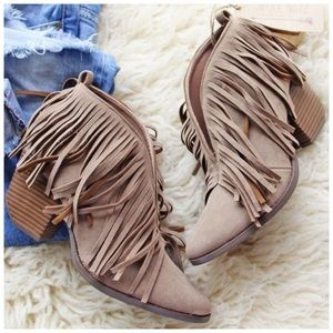 Shoes - New taupe rough fringe booties