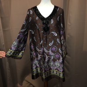 Brown sequined tunic with embellishments