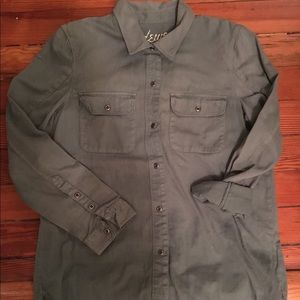 Madewell army green button up