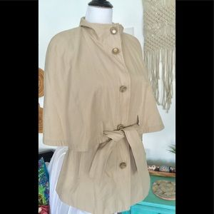 Betsey Johnson Rain Coat Jacket Cape Tan Belted