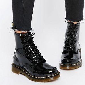 Dr. Martens Patent Lace Up Black Boots 1460
