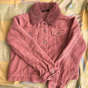 Brandy Melville Pink Corduroy Fur Jacket