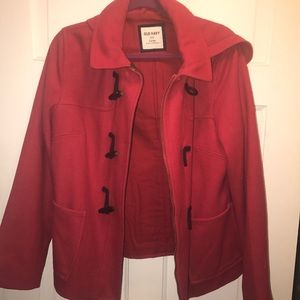 Red wool peacoat with toggles, zipper, and hood