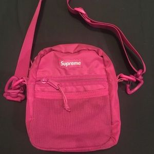 SUPREME Small Shoulder Bag Magenta box logo S/S17