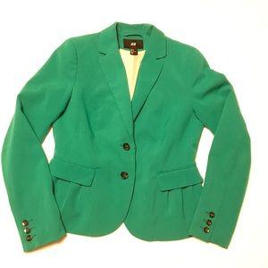 H&M Green Blazer Pleated Long Sleeve Size 8