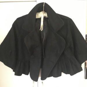Black Wool Cropped Cape Coat M