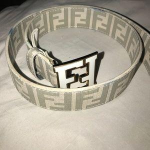 White Fendi Belt