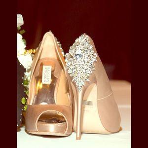 Badgley Mischka Kiara Embellished Peep Toe Shoes