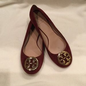 Red suede Tory Burch flats