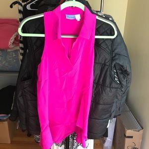 Bright Pink 100% Silk Sleeveless Blouse