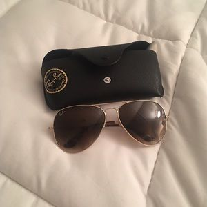 Authentic LG brown aviators w/ gold frame