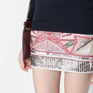 NWT Zara Trafaluc Small Aztec Sequin Skirt