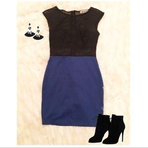 Blue and black mini dress