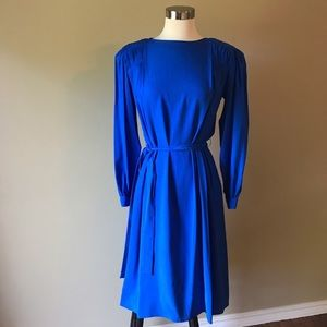 Vintage Cobalt Blue Silk Midi Secretary Dress
