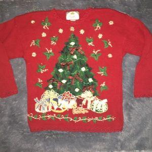 Vintage Tiara International Christmas Tree sweater