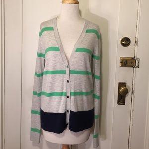 Gap light gray green striped wool blend cardigan