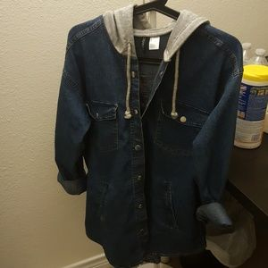 Jeans jacket with attached hoodie, never used!