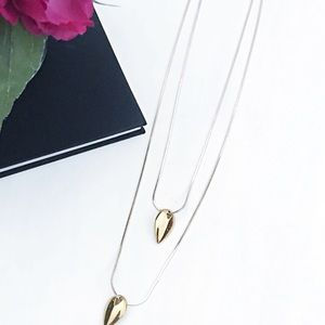 Express teardrop long gold necklace