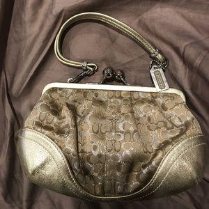 Coach signature metallic clutch evening bag