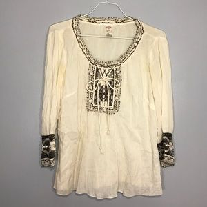 Free People Boho Peasant Tie Front Top Size Small