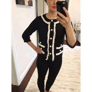St John Couture Cardigan Black/White with Pearls