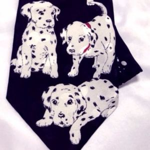 Addiction Accessories - Addiction Men's Tie Dalmatians Dogs 100% Silk Euc