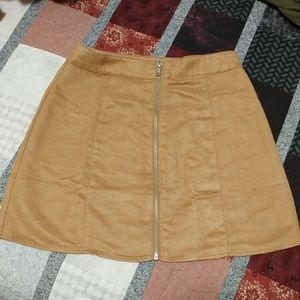 Zip front boho mini skirt