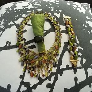 Autumn Necklace w/ Matching Bracelet & Brown Ring