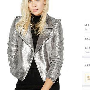 Silver leather moto jacket