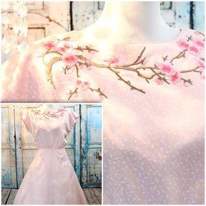 🍒🌸VINTAGE Cherry Blossom 1950 House Dress🍒🌸
