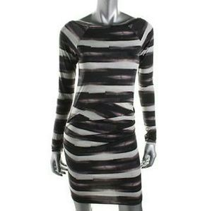 Rachel Roy 3/4 sleeve ruched dress black/purple
