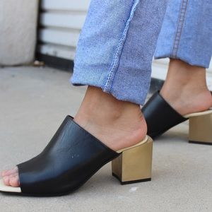 black and gold mules