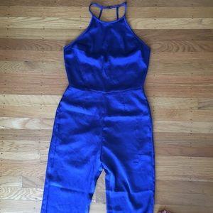 4ee1d817461 cotton candy Pants - Blue satin jumpsuit