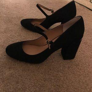 Calvin Klein black suede Mary Jane heels