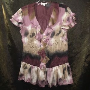 Dress Barn Tye Dye Effect Sheer Party Top Sz S-M