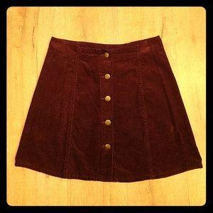 Burgandy Corduroy A-Line Mini Skirt Retro Look