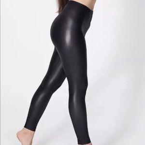 American Apparel Metallic Lame Matte Black Legging