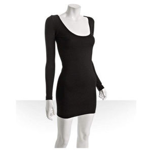 MONROW Black Long-Sleeve Bodycon Mini Dress! NWT!