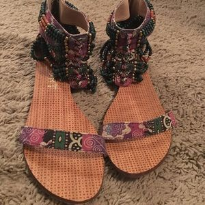 Gorgeous Report Beaded Gold Teal Purple Sandals