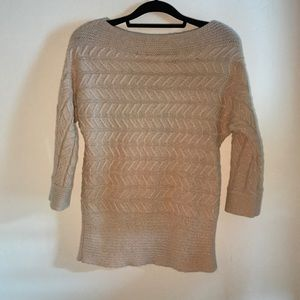 NY & Co cable knit boat neck sweater metallic